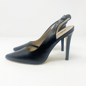 Just Fab | Black Faux Leather Slingback Heels 8